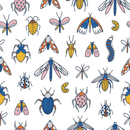 Colorful cartoon insects, bugs and beetles on white background, vector seamless pattern Иллюстрация
