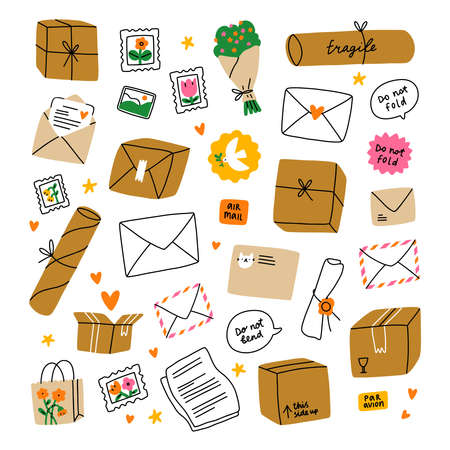 Everything is packed and delivered on time, mail boxes and letters, isolated illustrations, vector collection