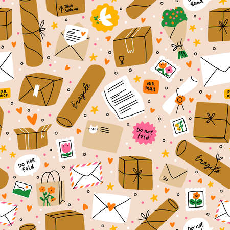 Everything is packed and delivered on time, mail background with lots of boxes, letters and stamps, vector seamless pattern
