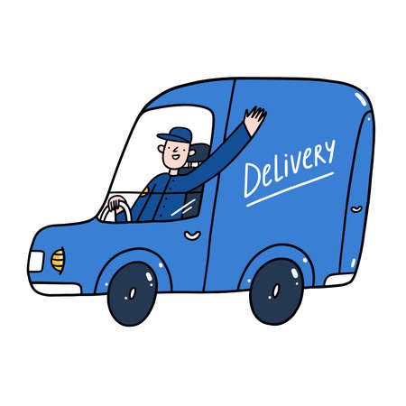 Delivery guy in a blue service car, cartoon characters, isolated vector illustration