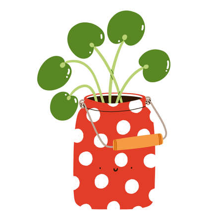 Pilea peperomioides in a cute red polka dot can, cartoon character, isolated vector illustration