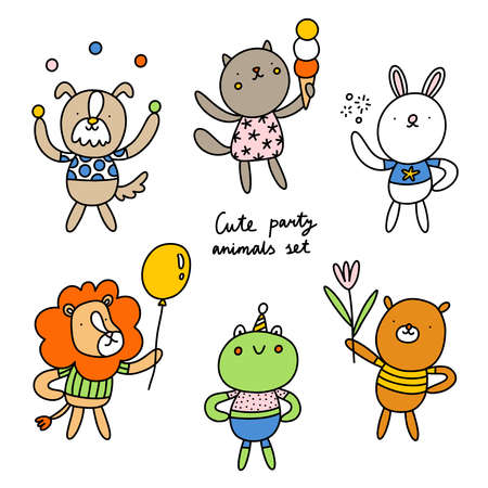 Cute party animals illustration, dog, cat, bear, bunny rabbit, lion and frog, vector collection