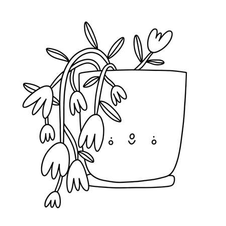 Cute houseplant in a pot, outline cartoon vector character for coloring, isolated on white background Иллюстрация