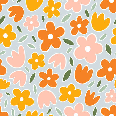 Yellow, orange and pink flowers on mint background. Spring floral abstract vector seamless pattern