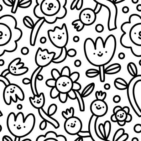 Doodle funny flowers characters, nursery background, simple black and white vector seamless pattern