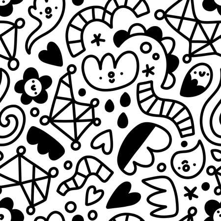 Let me doodle it for you, abstract funny shapes and flowers, kids cartoon doodles, vector seamless pattern, black and white Иллюстрация