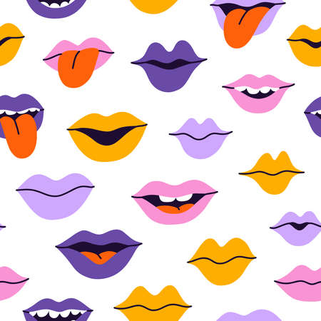 Colorful cartoon smiles and kisses, vector seamless pattern on white background