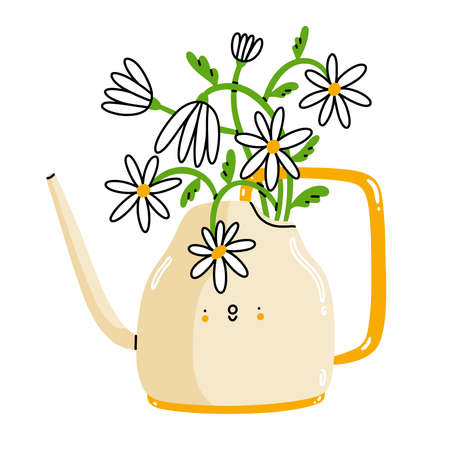 White watering can, cute cartoon character with chamomile flowers, vector illustration isolated on white background