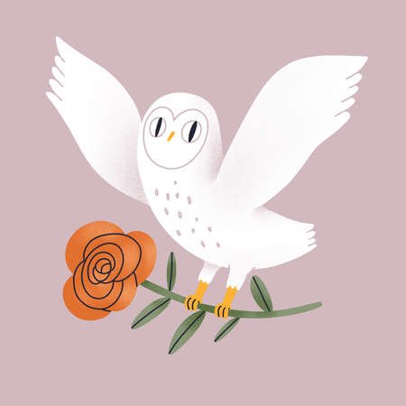 Beautiful white owl with red rose, hand drawn cartoon illustration, isolated on dusty pink background