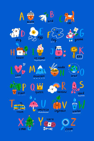 ABC poster with cute doodle characters for kids, hand drawn cartoon illustration