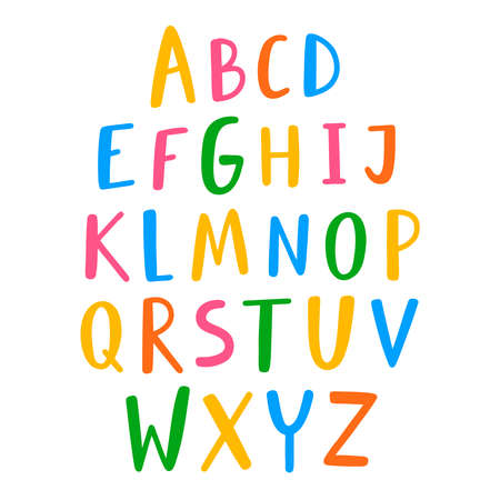 Hand drawn English alphabet, colorful vector letters set, isolated on white background Иллюстрация
