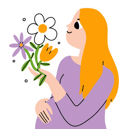 Beautiful blond young pregnant woman with flowers, maternity vector illustration, isolated on white background