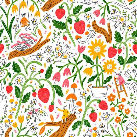 Welcome to my beautiful garden. Flowers, mushrooms, birds, little people, happy summer seamless pattern illustration