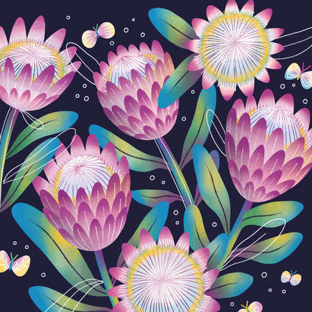 Exotic protea flowers and butterflies, beautiful illustration, tropical illustration with artistic doodle leaves Фото со стока