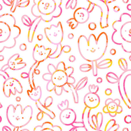 Cute flower doodles with pink, yellow and orange marble texture, fun abstract seamless pattern illustration