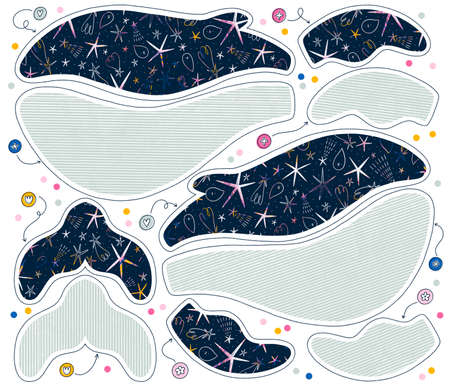 Print on fabric and sew your own whale toy with starry space and striped textures, easy diy cut and sew template illustration