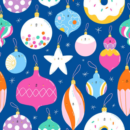 Colorful christmas tree vintage glass toys characters, seamless pattern illustration on blue