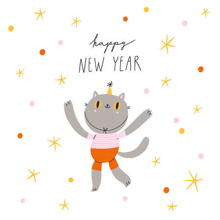 Pretty cat character celebrating new year with confetti and stars Фото со стока
