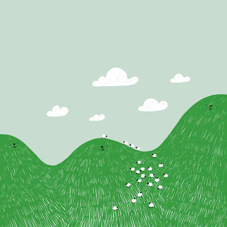 Cute cartoon hills characters with green grass, clouds and sheeps, vector illustration