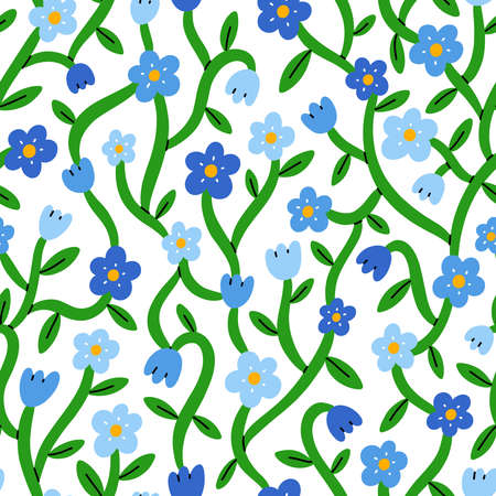 Forget me not tiny blue floral vector seamless pattern, isolated on white background