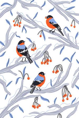Little bullfinch birds outside my winter window, cartoon winter vector illustration