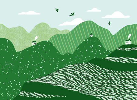 Green hills with tiny white houses, clouds and birds, vector landscape illustration Иллюстрация