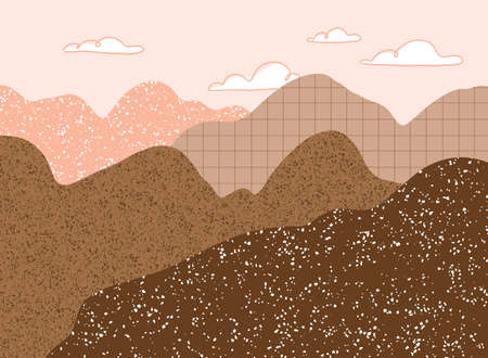 Abstract pink and brown mountains silhouettes with clouds, vector landscape illustration