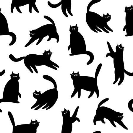 Black cartoon cats silhouettes, vector seamless pattern, black and white background