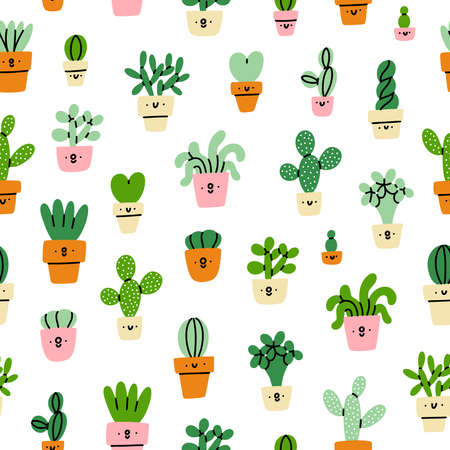 Cute little prickly cactuses and succulents characters, cartoon vector seamless pattern