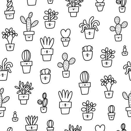 Cute little prickly cactuses and succulents characters, outline cartoon vector seamless pattern, black and white 向量圖像