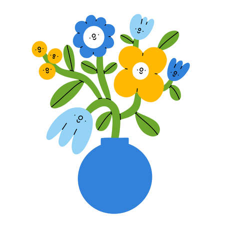 Cartoon bouquet in a round shape vase, cute flower characters, vector illustration isolated on white background