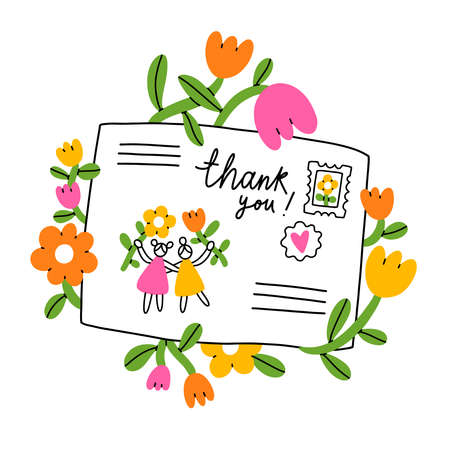 Letter for a friend, cartoon envelope with flowers, stamps and cute little girls, vector illustration isolated on white background