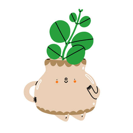 Little stem cutting in a cute ceramic pot, cartoon character, vector illustration isolated on white, kids illustration