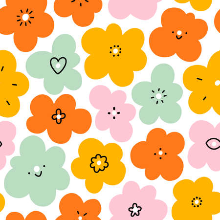 Simple fun abstract floral doodle seamless pattern, big scale, vector illustration 向量圖像