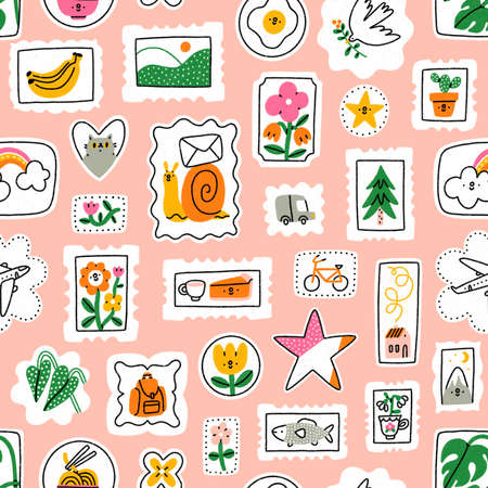 Awesome and cute cartoon mail stamps collection with cat, flowers, food and other things, seamless pattern illustration, on pink background