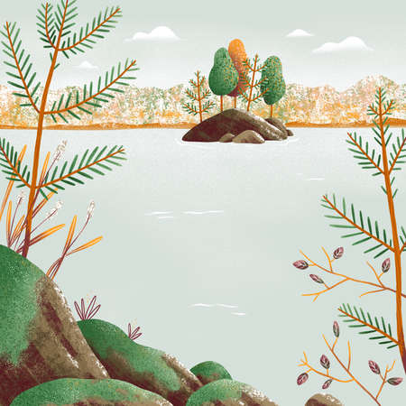 Beautiful autumn landscape illustration with lake and an island, some trees and rocks covered with moss, calm view 版權商用圖片