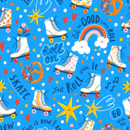 This is how I roll, vintage skates, clouds, stars and overall party fun, seamless pattern illustration with blue background
