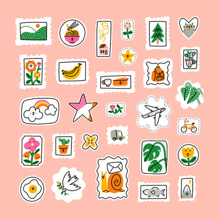 Awesome cartoon mail stamps collection, vector illustrations set. Stamps with cat, flowers, rainbow, bananas, landscape, mountain, noodles, monstera, plane, pie, fish, bird 向量圖像