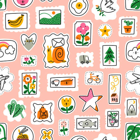 Funny cartoon mail stamps vector seamless pattern. Stamps with cat, flowers, rainbow, bananas, landscape, mountain, noodles, monstera, plane, pie, fish, bird 向量圖像