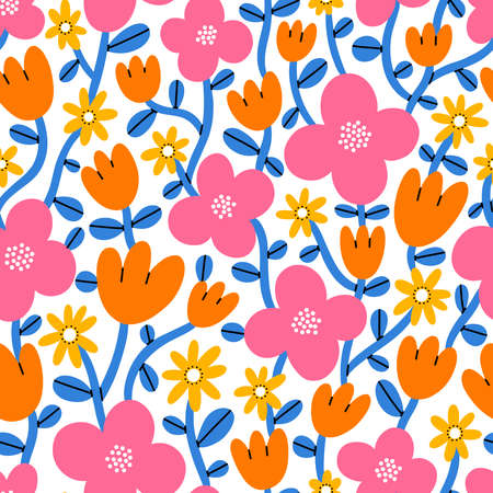 Super bright and colorful cartoon flowers, pink, magenta, orange and yellow, vector seamless pattern