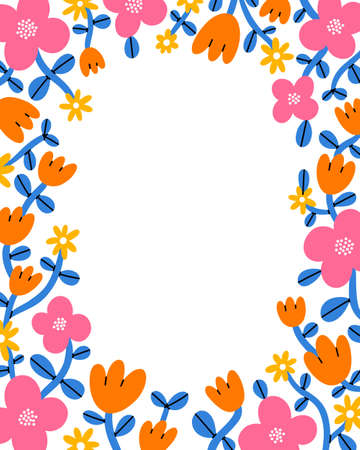 Super bright and colorful cartoon floral vector frame, with pink, magenta, orange and yellow flowers, isolated on white background 向量圖像