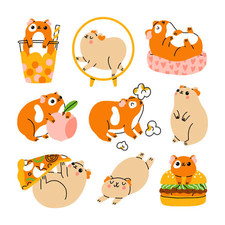 Nine cute guinea pigs characters, vector illustration set, isolated on white
