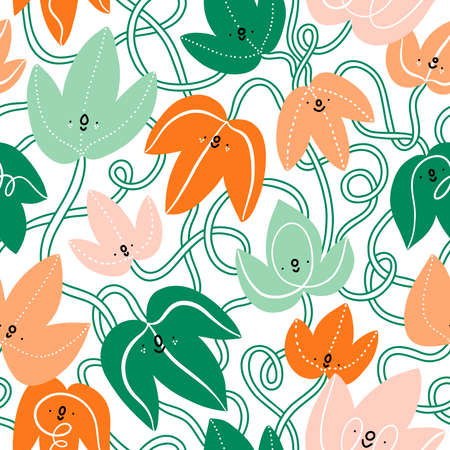 Cartoon ivy leaves with cute faces, vector seamless pattern, white background 向量圖像