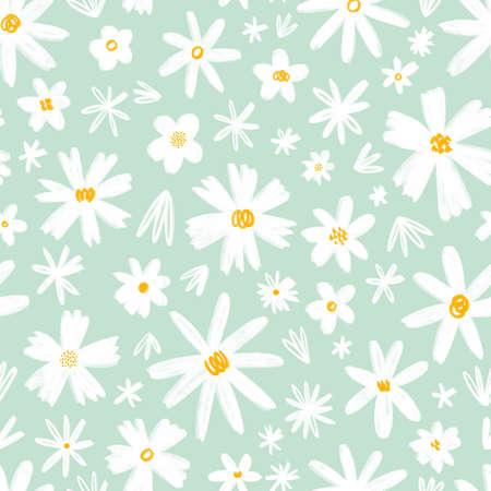 White hand drawn flowers on mint background, illustration seamless pattern 版權商用圖片