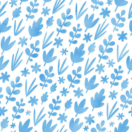 Light blue leaves silhouettes, illustration seamless pattern, isolated on white background