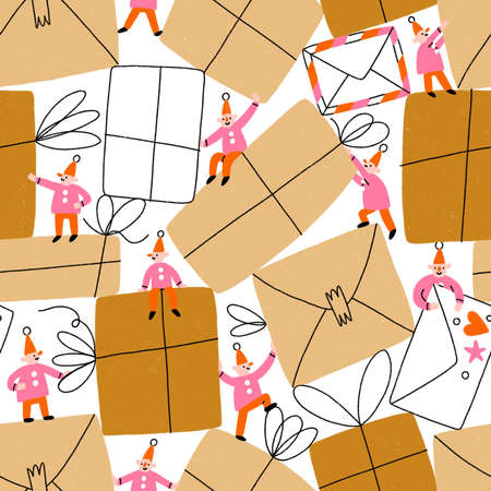 Little gnomes packing a bunch of parcels and envelopes. Cartoon seamless pattern 版權商用圖片