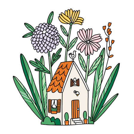 Beautiful cartoon tiny house in flowers, with cat in a window, vector illustration isolated on white 向量圖像