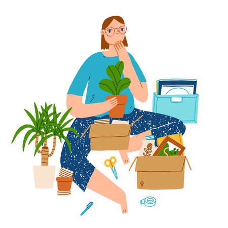 Girl with plants, vinyl, and other stuff, packing for moving, vector cartoon illustration isolated on white 向量圖像