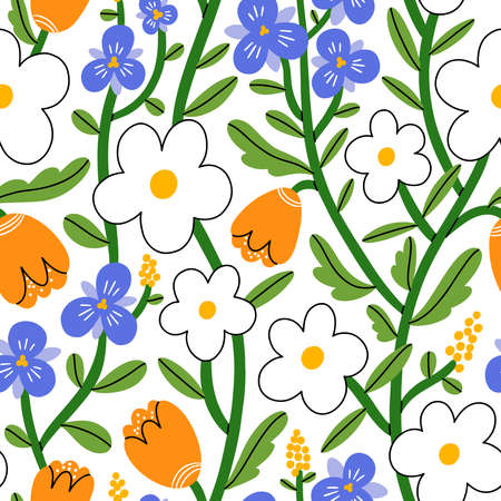 Pansy, daisy and tulip flower garden, vector seamless pattern on white background 向量圖像