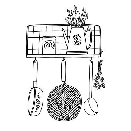 Retro kitchen shelf with utensils, black outline vector illustration isolated on white